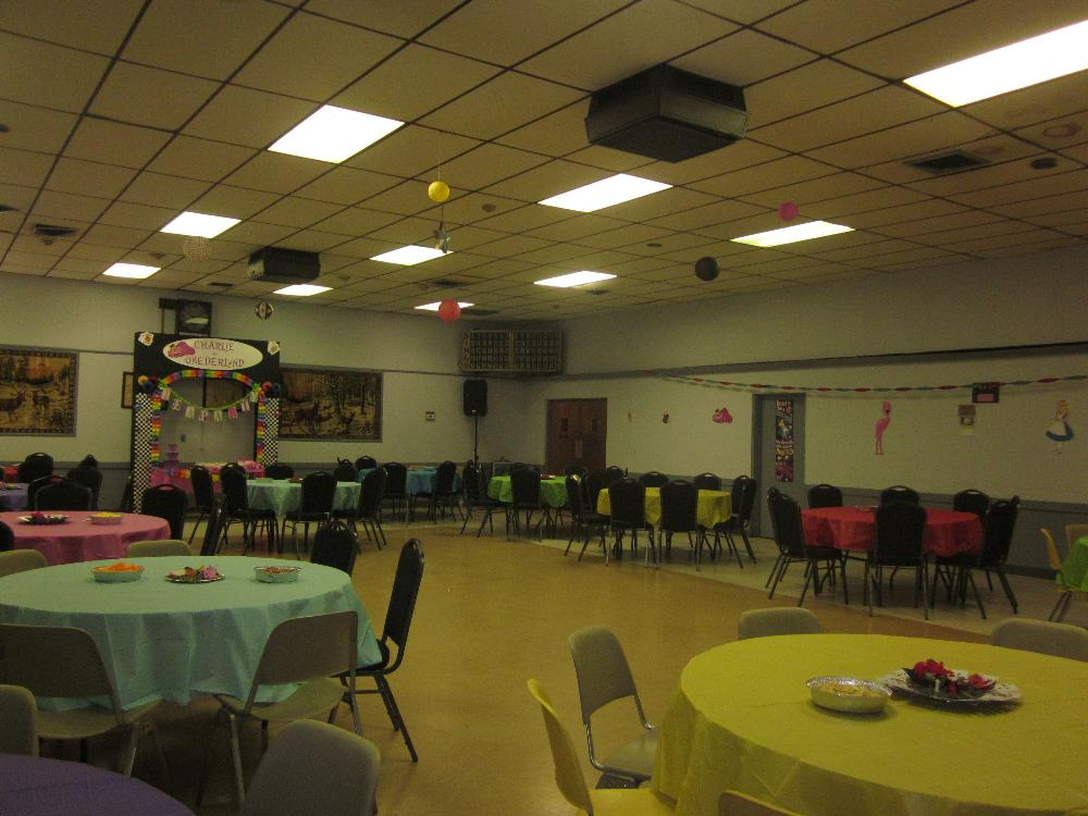 Hall decorated for a Birthday Party